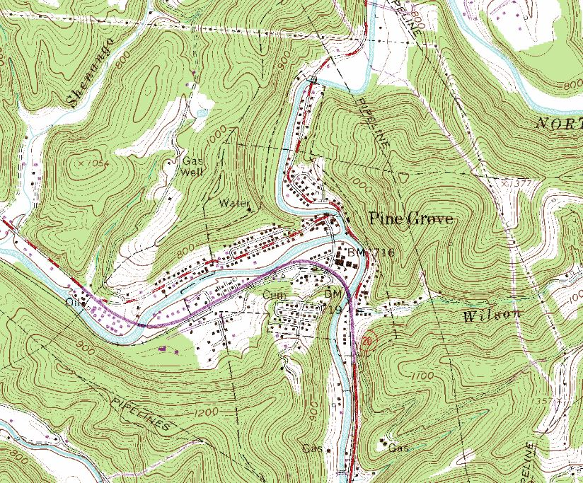 Topographic Map West Virginia.Green District Wv Almlie Talberg Sordi Dilley