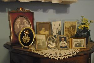 """In the """"blue room,"""" my grandparents have set up many of the photos of their parents over the years."""